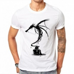 100% Cotton Men's Fashion Short Sleeve T-shirt Ink Dragon Printed Tee Shirts Hipster O-neck Cool Tops Plus Size 4XL