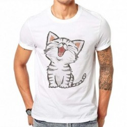 100% Cotton Men's Funny Happy Cat Design T Shirt Male Fashion Cute Kawaii Cartoons Tops Hipster Printed Summer White Tees