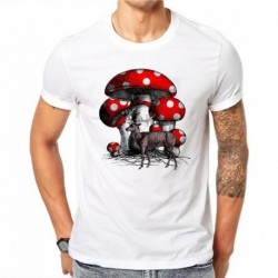 100% Cotton Mushroom Elk Men 3D Print T Shirt Summer Creative Design Casual Tees Tops Male Short Sleeve T-shirt Plus Size 4XL