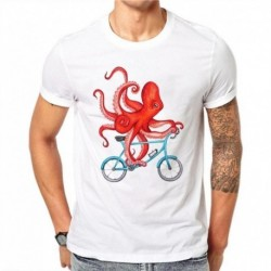100% Cotton Octopus Riding Printed Summer Fashion Kawaii T Shirt Male Cute Tops Hipster White Tees Casual Short Sleeve Men FG61