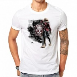 100% Cotton One Piece T Shirt Men T-shirt Funny Luffy T Shirts White O-neck Skull Printed Tshirt Clothing Mens Anime Tee Shirt G