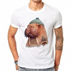 100% Cotton Personality Men 3D Sea Lion Print T Shirt Animal Kawaii Cartoons O-neck Tee T-Shirts Short Sleeve Summer Tops