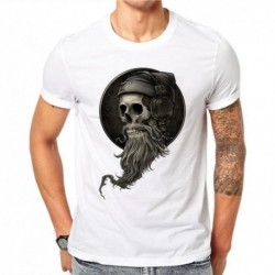 100% Cotton Personality Summer Men 3D DJ Skull Print T Shirt Letters Gothic Style O-neck Tee T-Shirts Short Sleeve Print Tops