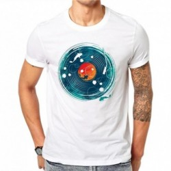 100% Cotton Retro Gramophone Design Men T-shirt Goldfish Printed Male Cool Tops Hipster Short Sleeve Casual Tee T Shirts SD59