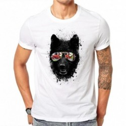 100% Cotton Simple Glasses Dog Design Men T-shirt Novelty Animal Print Male Cool Tops Hipster Short Sleeve Casual Tee T Shirts