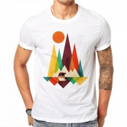 100% Cotton Simple Mountain Bear Design Men T-shirt Animal Printed Male Cool Tops Hipster Style Short Sleeve Casual Tee T Shirts