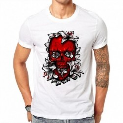 100% Cotton Simple Red Skull Design Men T-shirt Novelty Printed Male Cool Tops Hipster Short Sleeve Casual Tee T Shirts