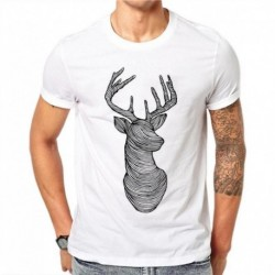 100% Cotton Sketch Elk T-shirts Men Summer Tops Tees Animal Print T Shirt Men O-neck Short Sleeve Fashion Tshirts Plus Size