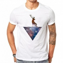 100% Cotton Starry Sky Design Men T-shirt Short Sleeve Hipster 3D Elk Christmas Print Tops Printed T Shirts Cool Tee Plus Size