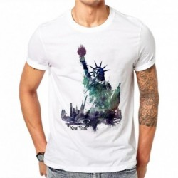 100% Cotton Statue of Liberty New York Fashion Top Tees Men T Shirt Summer Male Round Neck T-shirt Men Casual Tees Tops DF60
