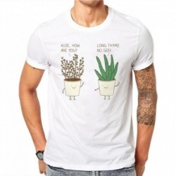 100% Cotton Summer Fashion Cartoons T Shirt Men Short Sleeve Funny Plants Printed Tops Hipster Tees White T-shirts Plus Size KL7