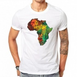 100% Cotton Summer Fashion Colorful Map Design T Shirt Men's Lion Ape Animal Cool White Tops Hipster Tees Male Clothing