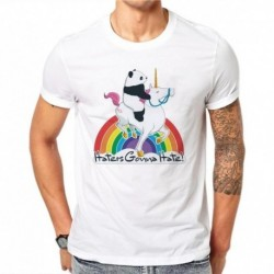 100% Cotton Summer Fashion Cute Cartoon Panda Unicorns Rainbow T Shirt Harajuku Men Casual White T-Shirt Tops Short Sleeve JM58