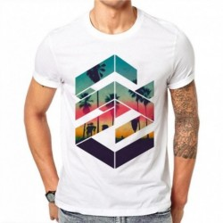100% Cotton Summer Fashion Geometric Sunset Beach Design O-neck Short Sleeve T Shirt Men's Cool Design Tops Custom Hipster Tees