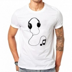 100% Cotton Summer Fashion Men T Shirt Short Sleeve O-neck Couples Tops Creative Earphones Printed T Shirts Cool Tee