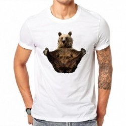 100% Cotton Summer Fashion Men T Shirt Short Sleeve O-neck Couples Tops Creative Ink Bear Printed T Shirts Cool Tee