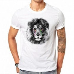 100% Cotton Summer Fashion Men T Shirt Short Sleeve O-neck Couples Tops Creative Rainbow Tears Lion T Shirts Cool Tee