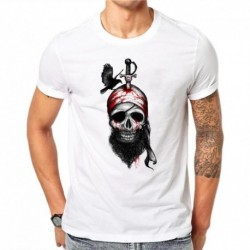 100% Cotton Summer Fashion Men T Shirt Short Sleeve O-neck Couples Tops Punk Pirate Skull Printed T Shirts Cool Tee