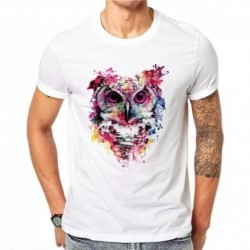 100% Cotton Summer Men Funny 3D Ink Owl Night Design Casual White O-neck T Shirt Men's Animal Printed Tops Hipster Tees