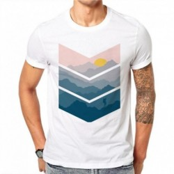 100% Cotton Sunrise View Design Men T-shirt Printed Male Cool Tops Hipster Simple Style Short Sleeve Casual Tee T Shirts