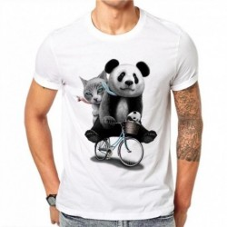 100% Cotton T Shirt Men Summer Kawaii Tops Tees Cat Panda Fashion 3D Print Cute Animal T-Shirt HJ64
