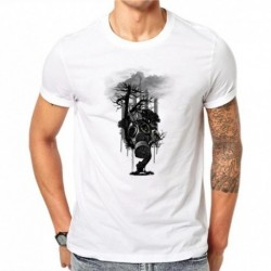 100% Cotton Toxic Air Design Men T Shirt Short Sleeve Punk T-shirt Tree Skull with Gas Mask Printed Tees Cool Tops