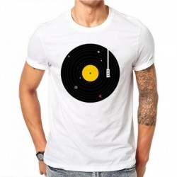 100% Cotton Vintage Men T Shirts FashionVinyl Records Printed Casual Tops Summer T-Shirt Short Sleeve White Tee Plus Size 4XL