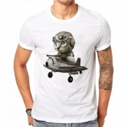 100% Cotton Vintage Style Pilot Cat Men T Shirts Fashion White Short Sleeve Casual Tops Animal Cat Printed T-Shirt Tee Plus Size