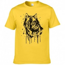 2017 Creative Design Splash-ink Wolf T Shirt Men Summer Cotton Short Sleeve Brand T-shirt Fashion Animal Printed Cool Tees 201