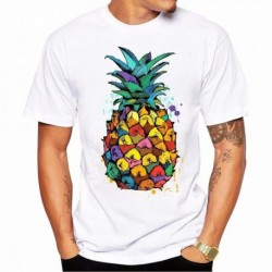 2017 Men's New Ink Water Color Pineapple Printed T-shirt Summer Cool Design Tops Soft Short Sleeve Tee
