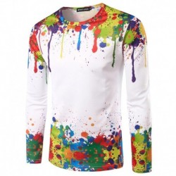 2017 Splash Ink T Shirt Men Colorful Printed Funny T shirts Long Sleeve Top Tee Shirt Homme Casual Fitness Brand 3D T-shirt