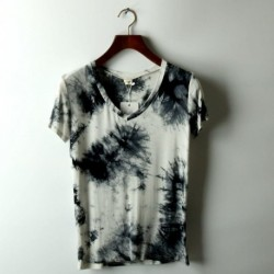 2018 Linkin Park Summer New Thin Tie Dye Printing Cultivate One's Morality Leisure Splash-ink Male V-neck Short Sleeve T-shirt