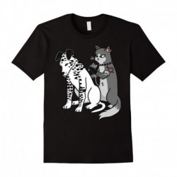 2018 New Men T-Shirt Loose Clothes Tattoo Cat Inked Dalmatian Cartoon Funny Graphic T-Shirt Graphic Tee shirt