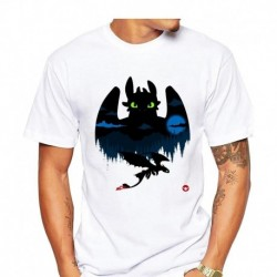 2019 Men's T Shirt Toothless Dragon Night Fury Black and White Ink Art Awesome Cartoon Character Tee