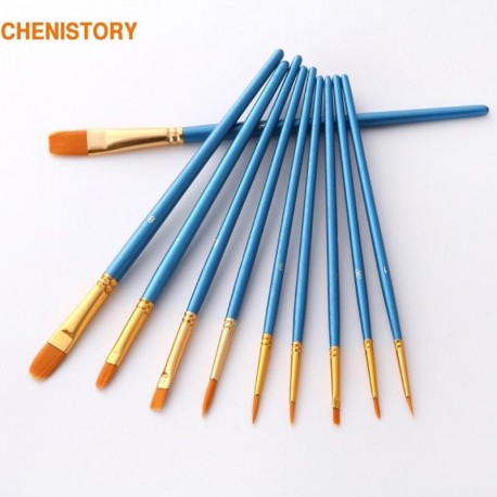 10Pcs/Set paint by numbers brushes Watercolor Gouache Paint Brushes Different Shape Round Pointed Tip Nylon Hair Painting Brush