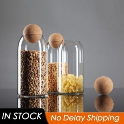 3 Size Transparent Spice Jar Glass Sealed Storage Bottle with Round Cork Mason Jar Tea Coffee Storage Tank Food Grains Container