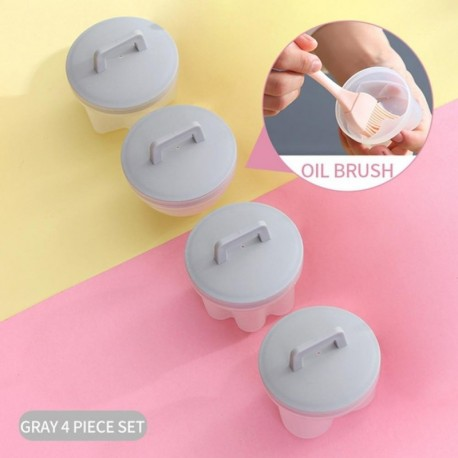 4Pcs/Set Kitchen Household Egg Cooker Plastic Egg Cooker Kitchen Egg Cooker Tool Egg Mold Forming Machine With Lid Brush Pancake