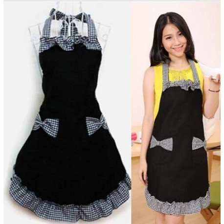 Bib Aprons Kitchen Bar Cleaning Dress Flirty Vintage Kitchen Womens Bowknot with Pocket Gift