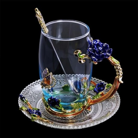 Blue Rose Enamel Crystal Cup Flower Tea Glass High-grade Glass Cup Flower Mug with Handgrip Perfect Gift For Lover Wedding