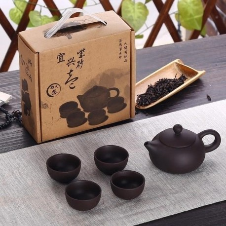 EMBED LIFE Portable Teapot Set Mading of Purple Sand Ceramic With 4 Cups&1 Pot Suitable For Home Office Drinkware Chines Tea Set