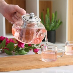 Good Clear Borosilicate Glass Teapot With 304 Stainless Steel Infuser Strainer Heat Resistant Loose Leaf Tea Pot Tool Kettle Set