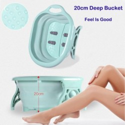 Portable Folding Roller Foot Tub Pink Blue Thick Sturdy Plastic Basin Pedicure Detox Folding Bath Tubs