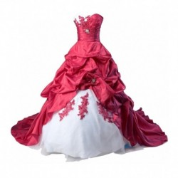 2018 Vestido De Noiva Red white Sweetheart Plus Size Bride Gown For Wedding  Beaded Court Train Mother Of The Bride Dresses