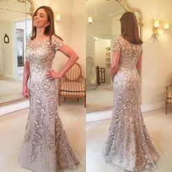2019 New Floral Mother of The Bride Dresses Plus Size Elegant Appliques Groom Godmother Mermaid Evening Dress For Wedding Party