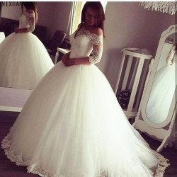 2020 Arabic Princess Ball Gown Wedding Dresses Sheer Neck 3/4 Sleeve Off-the-shoulder Sweep Train Lace Up Plus Size Bridal Gown