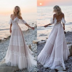 2020 Bohemian Wedding Dresses Off Shoulder Lace Appliques Bridal Gowns Sexy Backless Beach A Line Wedding Dress Robe De Mariee