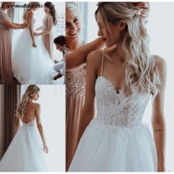 Beach Wedding Dresses 2020 Backless Lace Appliques Pearls Spaghetti Straps A-Line Boho Bridal Gowns Robe De Mariee Cheap