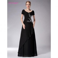 Black 2019 Mother Of The Bride Dresses A-line V-neck Cap Sleeves Chiffon Embroidery Long Elegant Groom Mother Dresses Wedding