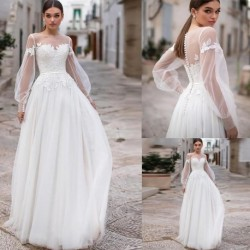 Boho Wedding Dresses 2020 Lace Appliques Puff Long Sleeves Bridal Wedding Gowns Buttons Backless Floor Length Vestido De Noiva