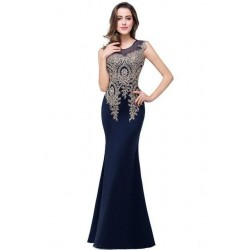 Cazdzy Long Mermaid Dress Appliques Lace New Evening Dresses Knitting Women Prom Dress For Robe De Soiree And Wedding Gown Party